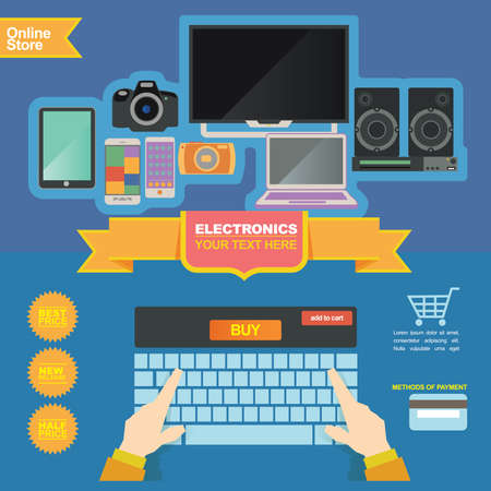 electronics store: illustration concept for banner template, electronics store and on line shop