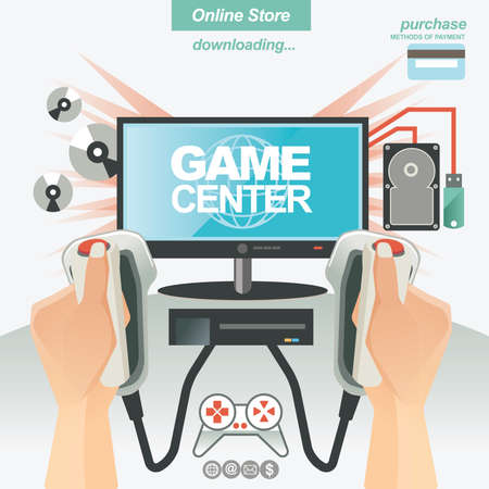 flashdisk: illustration concept for banner template for game store ,accesories and on line shop
