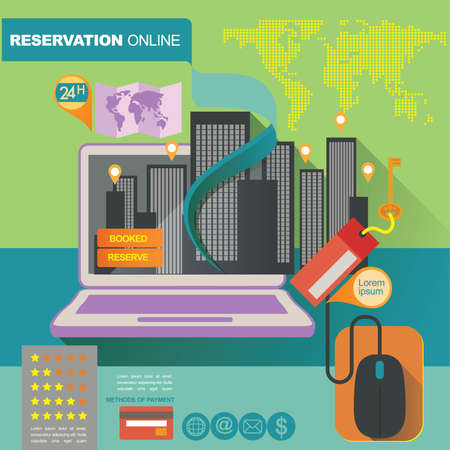 concept illustration banner template for hotels reservation and on line shop