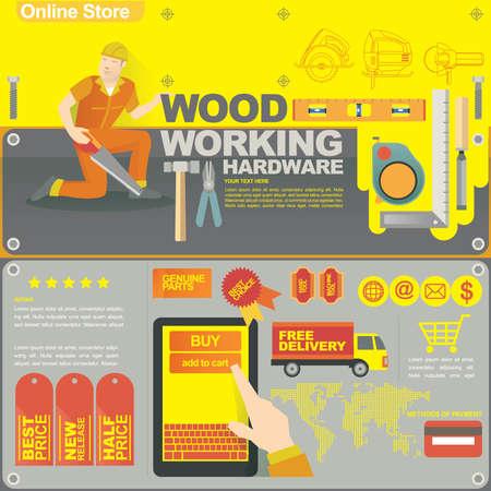 wood craft: concept illustration banner template for wood craft and on line shop Illustration