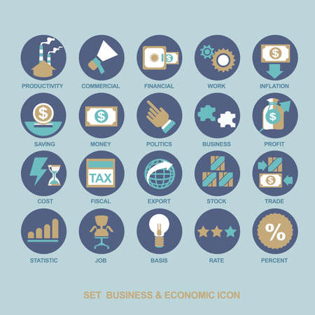 Icon set business strategy and business plan Stock Illustratie