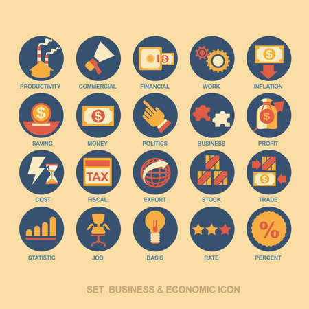 Icon set business strategy and business plan Иллюстрация