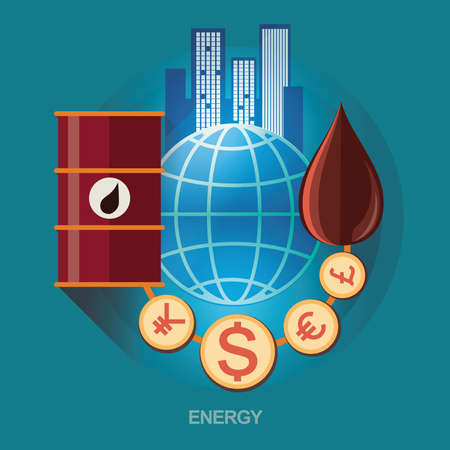 oil exploration: vector concept illustration. Icon for energy saving. Energy exploration. Oil refinery. Energy for humans and economics Illustration