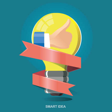 smart thinking: Vector illustration concept icon for thumb up, Good idea. Smart thinking. Good job. Smart Choice