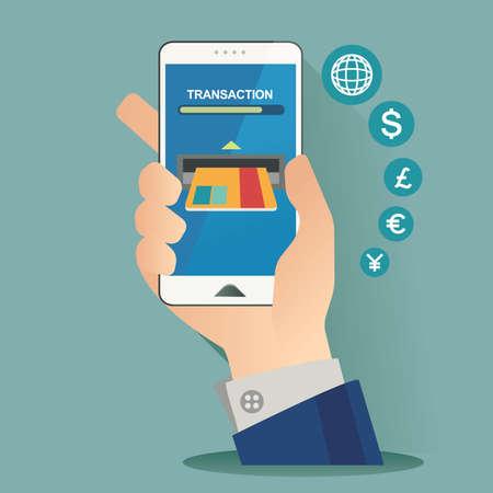 vector illustration concept for on line store. Digital marketing. Buy on line. Mobile payment Illustration