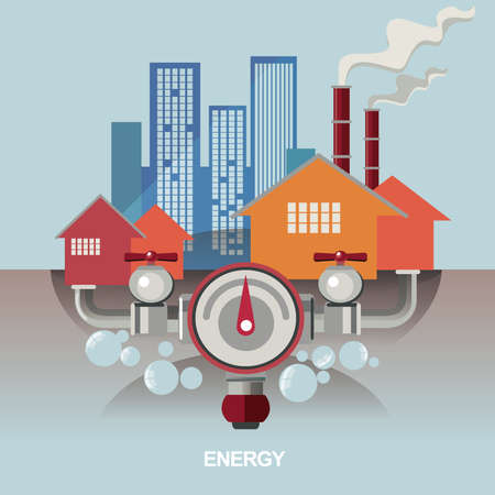 oil exploration: vector concept illustration, poster, icon for energy saving, energy exploration, oil refinery, energy for human Illustration
