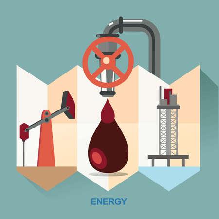 refinería de petróleo: vector concepto de ilustración, cartel, icono de ahorro de energía, la exploración de energía, refinerías de petróleo, la energía para el consumo humano