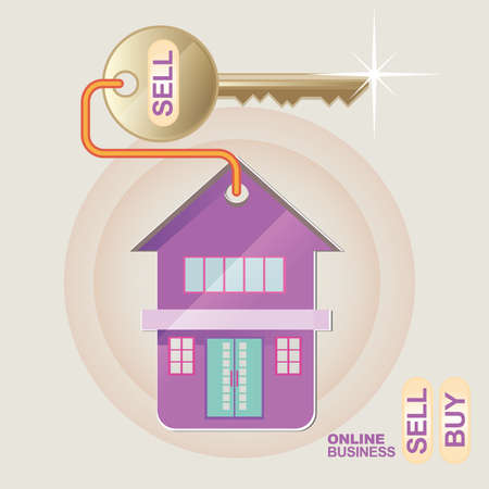 guest house: vector illustration template design concept for property business or on line store