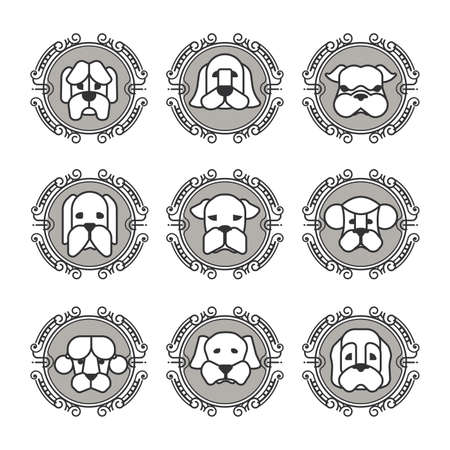 face close up: Pets vector icons - dogs elements Illustration