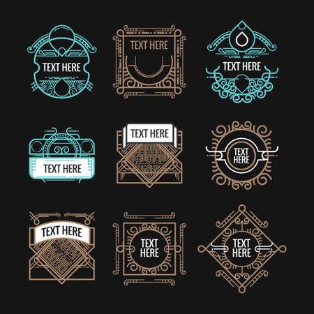 classic art: classic art deco luxury minimal hipster geometric vintage vector monogram, frame , border, badge, label, crest, or Vintage Insignias, vector design elements, business signs, identity Illustration