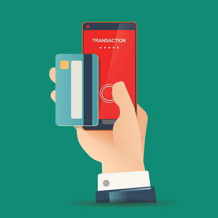 technology transaction: vector illustration for money transaction, technology, business, mobile banking and mobile payment