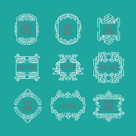 classic art deco luxury minimal hipster geometric vintage monogram, frame , border, badge, label, crest, or Vintage Insignias 矢量图像