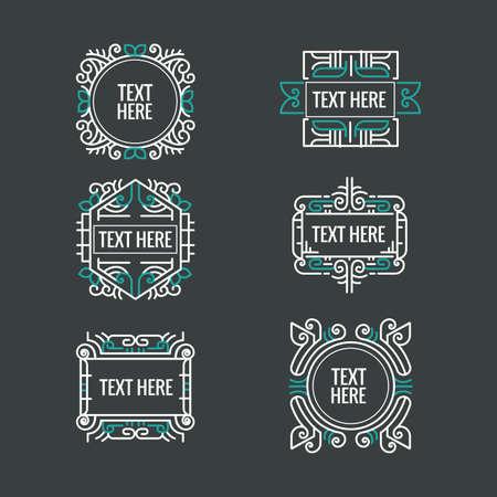 classic art: classic art deco luxury minimal hipster geometric vintage monogram, frame , border, badge, label, crest, or Vintage Insignias Illustration