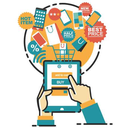 Digital marketing. Mobile payment. Start-up business 矢量图像