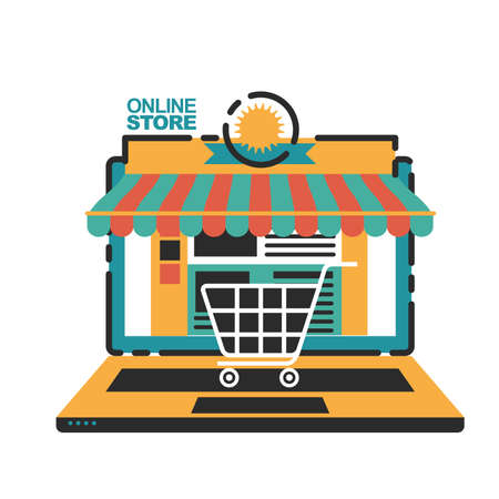 Vector illustration concept for on line store. Digital marketing. Mobile payment. Star-up business. Ilustrace