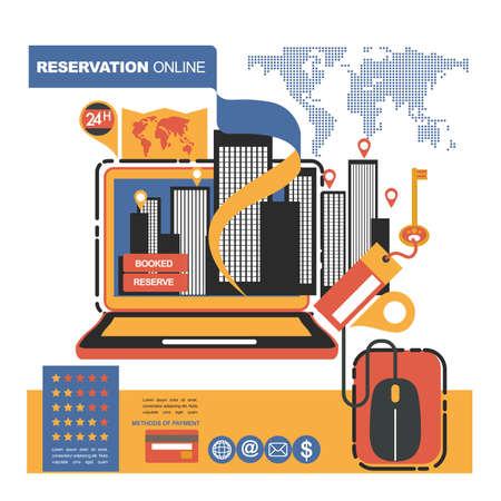 Concept illustration banner template for hotels reservation and on line shop. Start-up business
