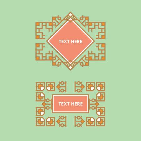 Stel Template Luxe frame voor Logotype. Japans, kalligrafie, arabisch, Azteekse elegant ornament. Bedrijfsteken, identiteit voor Royalty, Boutique, Hotel, heraldisch, sieraden, mode en andere vector illustratie