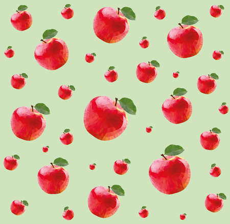technic: Pattern with red apples in triangulation technic on green background