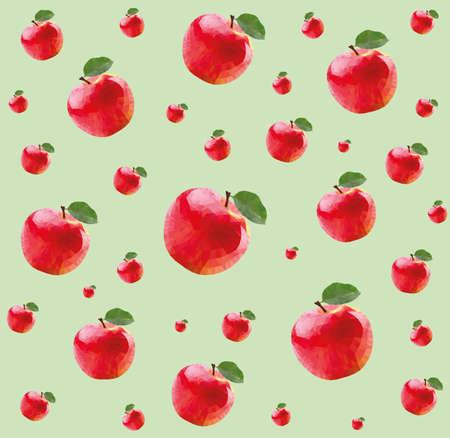 Patroon met rode appels in triangulatie techniek op groene achtergrond