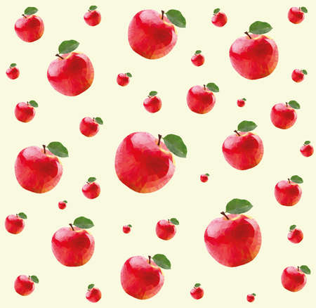 red apples: Pattern with red apples in triangulation technique on yellow background Illustration