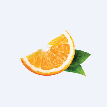 tessellated: An orange in triangulation technique on blue background Illustration