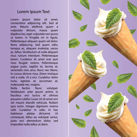 mint leaf: An ice cream postcard with mint leaf in triangulation technique on violet background