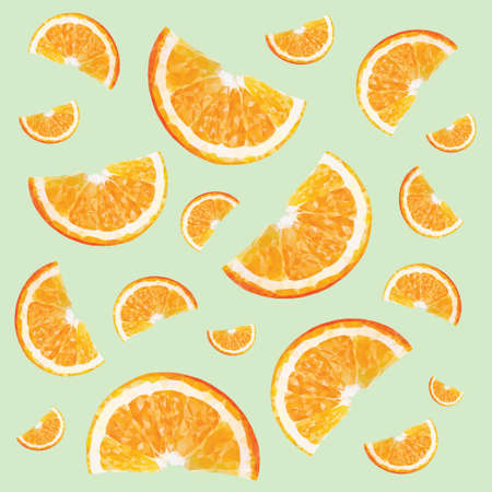technic: Pattern with oranges in triangulation technic on green background