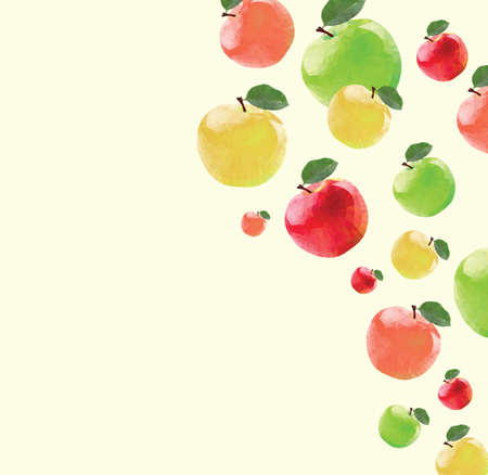 technic: Pattern with red apples in triangulation technic on yellow background Illustration