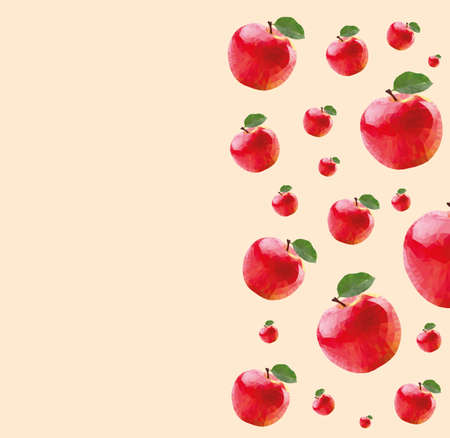 technic: Pattern with red apples in triangulation technic on cream background