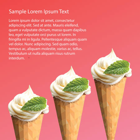 mint leaf: An ice cream postcard with mint leaf in triangulation technique on red and pink background Illustration