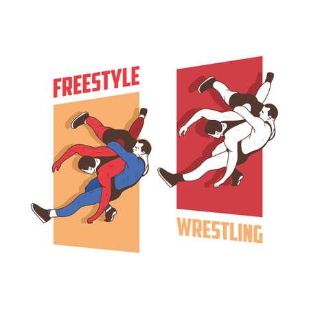 Freestyle wrestling man illustration