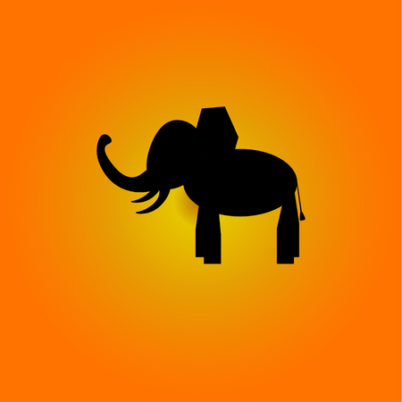 Elephant image with a design. Colored background. Icon