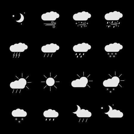 set with different weather icons in different color Illustration