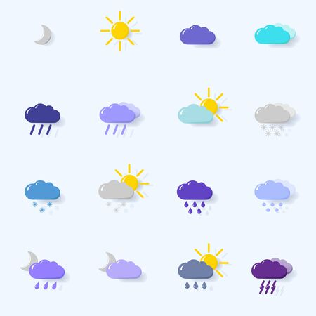 set with different weather icons cloud, sun, moon, rain snow drops Illustration