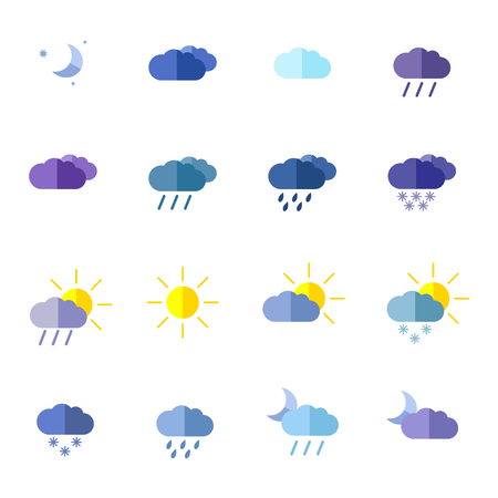 Ensemble avec différentes icônes météo en couleur Banque d'images - 71673875