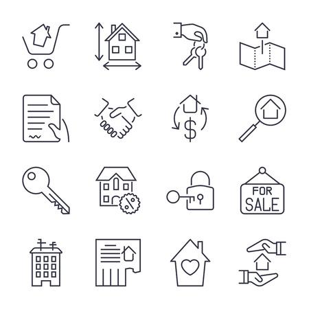 Onroerend goed. Set van overzicht vector iconen. Omvat zoals Eigendom, Gebouw, Appartement en andere. Bewerkbare lijn. Pictogrammen ingesteld voor app, sites en programma's. Onroerend goed, huis, huis, advertentie, agent, makelaar. Stock Illustratie