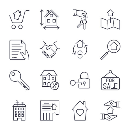 Real Estate. Set of outline vector icons. Includes such as Property, Building, Apartment and other. Editable Stroke. Icons set for app, sites and programs. Real estate, home, house, ad, agent, realtor.