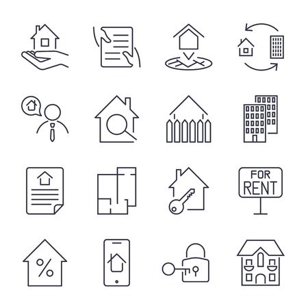 Immobilien, Gebäude, Haus, Bau, Vertragsikone und Zeichenkonzeptvektor stellten für Infografiken, Website ein. EPS 10 Standard-Bild - 82438995