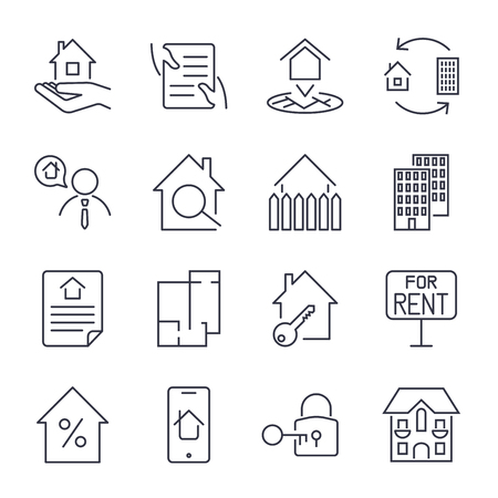 Real estate, building, house, construction, contract icon and sign concept vector set for infographics, website. EPS 10 Çizim