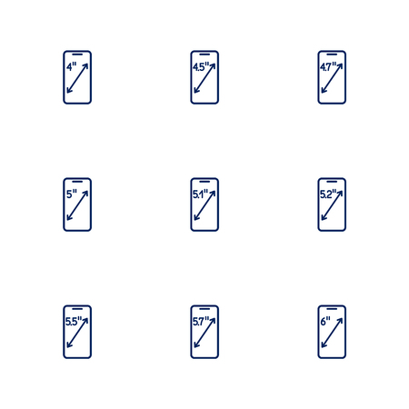 57: A picture depicting different diagonals of smartphones screens. EPS 10 Illustration