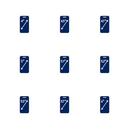 A picture depicting different diagonals of smartphones screens. EPS 10 Vectores