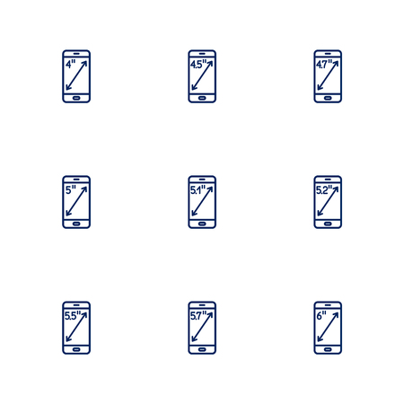 A picture depicting different diagonals of smartphones screens. EPS 10 Vectores