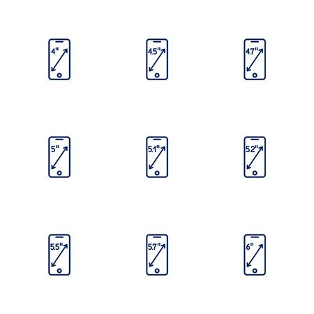 Una imagen que muestra diferentes diagonales de pantallas de teléfonos inteligentes. EPS 10 Ilustración de vector