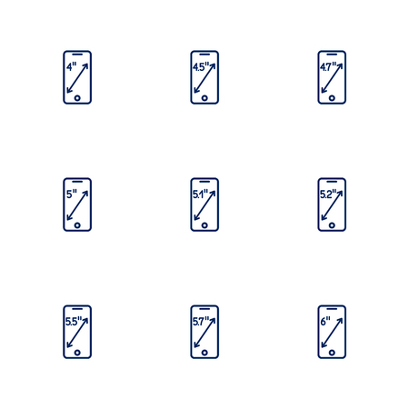 A picture depicting different diagonals of smartphones screens. EPS 10 Illustration