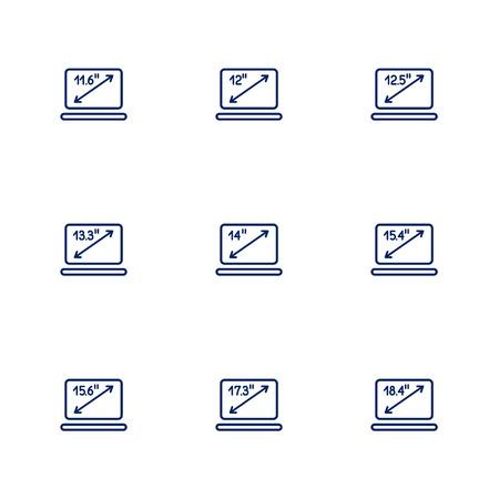 Una imagen que muestra diferentes diagonales de pantallas de portátiles. EPS 10