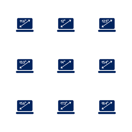 Una imagen que muestra diferentes diagonales de pantallas de portátiles. EPS 10 Ilustración de vector