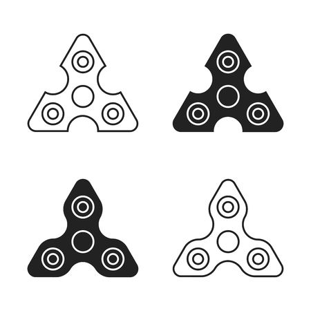 Fidget spinner icon - toy for stress relief and improvement of attention span. Drawn with outline thin lines. Isolatied vector illustration. EPS 10
