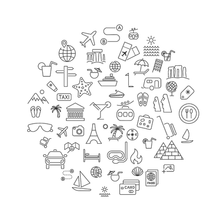 Simple travel icons set inscribed in round shape. Universal travel icons to use for web and mobile UI, set of basic UI travel elements. Icon set with editable stroke