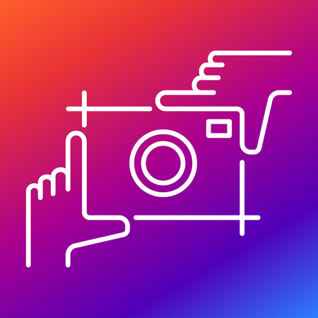 shutter: Picture of a photo camera in the form of hands and fingers on a colored background.