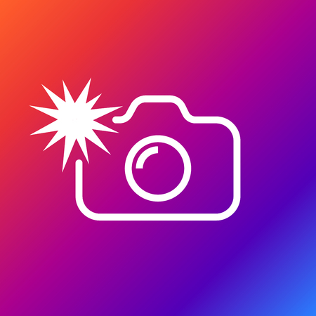 Camera flash rounded icon vector illustration style on colored background.